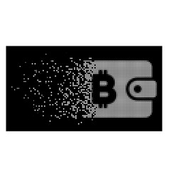 Bright disintegrating pixelated halftone bitcoin vector