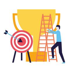 business man climb staris and target vector image