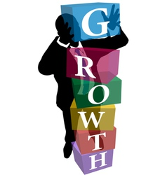 Business person stack up Growth cubes vector