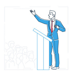 Businessman speaking from a platform - line design vector