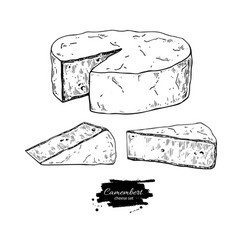 Camembert cheese block and triangle drawing vector