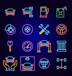 Car service neon icons vector