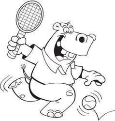 Cartoon hippo playing tennis vector