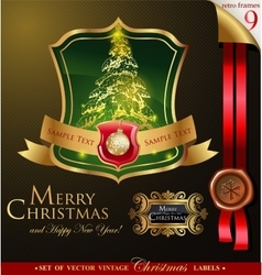 Christmas label with pine tree vector