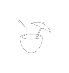 coconut coctail flat icon vector image