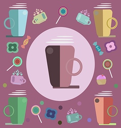 Coffee candies and sweets for a card vector