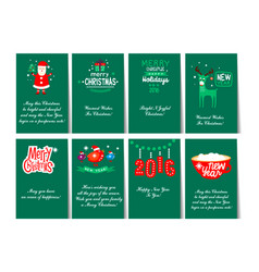 collection of 8 card templates for christmas and vector image