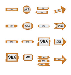 Collection of different shaped sale notice boards vector