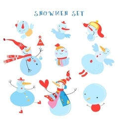 collection of snowmen vector image