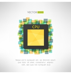 CPU chop icon on technological geometrical vector image