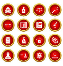Crime and punishment icon red circle set vector