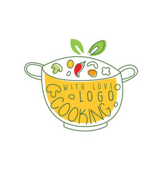 culinary logo design with pan fresh vegetables vector image