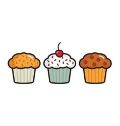 Cupcake icons vector