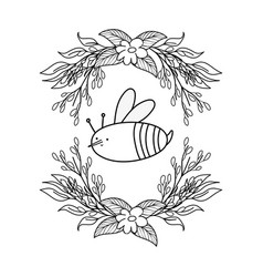 cute and little bee with wreath flowers vector image
