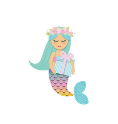 Cute mermaid with birthday present box vector