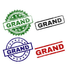 Damaged textured grand seal stamps vector