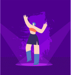 dancing pretty girl on illuminated night stage vector image