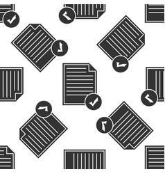 document and check mark icon seamless pattern vector image