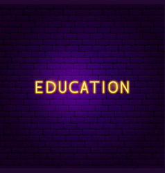 education text neon label vector image