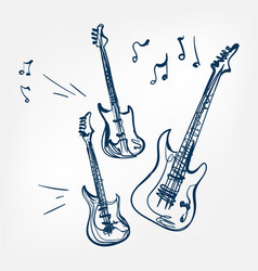 electric guitar set sketch vector image
