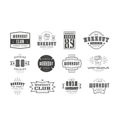 Emblems and badges set of workout club vector