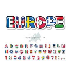 European countries flag cartoon font creative vector