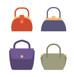 Fashionable female bags of natural leather set vector