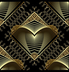 Geometric gold modern 3d seamless pattern greek vector