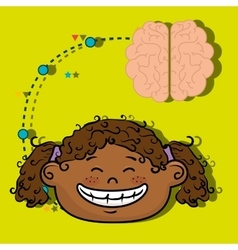 Girl cartoon brain idea vector