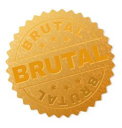 Gold brutal medal stamp vector