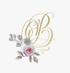 golden hand lettering font with handmade rose vector image