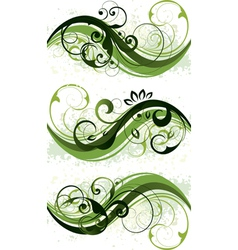 green floral designs vector image