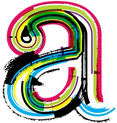 Grunge colorful font Letter a vector image