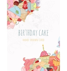 Hand drawn background of doodle style cupcakes vector image