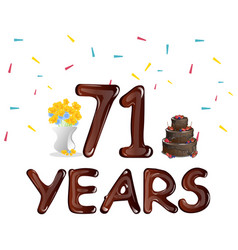 happy birthday seventy one 71 year vector image