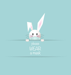 happy easter white bunny rabbit wear medical mask vector image