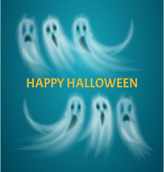 Happy halloween poster with text ghosts vector