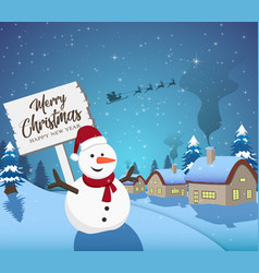 happy new year merry christmas 2019 with snowman vector image