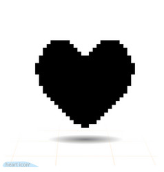 heart black icon love symbol pixel art heart vector image