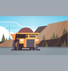 Heavy yellow dumper truck professional equipment vector