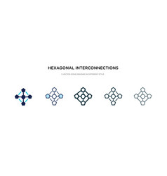 Hexagonal interconnections icon in different vector