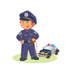 Icon of small child policeman and his vector