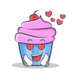 In love cupcake character cartoon style vector