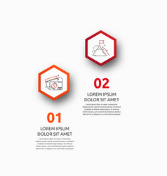 Infographic with 2 hexagons vector