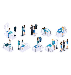 isometry tailor workshop set of tailors vector image