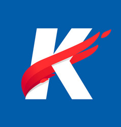 K letter logo with fast speed red bird wing vector