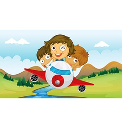 Kids riding in a plane vector
