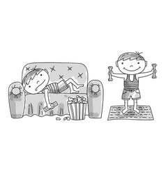 lazy boy on couch active boy doing exercises vector image