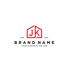 Letter jk home logo design concept vector