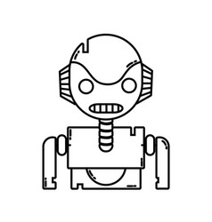 Line robot face with technology chest design vector